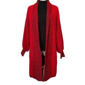 Vintage red boucle sweater coat bell sleeves M